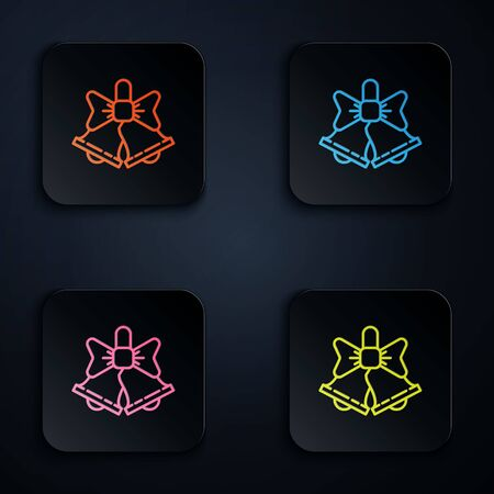 Color neon line Merry Christmas ringing bell icon isolated on black background. Alarm symbol, service bell, handbell sign, notification. Set icons in square buttons. Vector Illustration