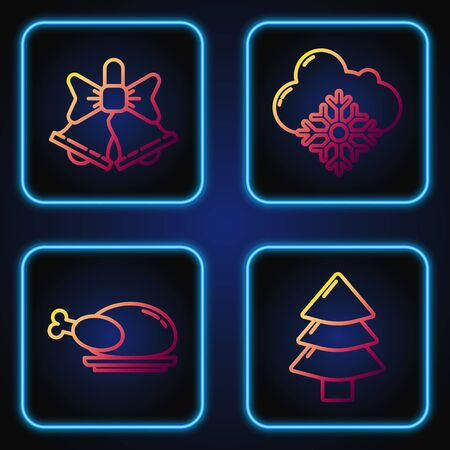 Set line Christmas tree, Roasted turkey or chicken, Merry Christmas ringing bell and Cloud with snow. Gradient color icons. Vector