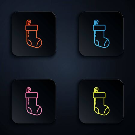 Color neon line Christmas stocking icon isolated on black background. Merry Christmas and Happy New Year. Set icons in square buttons. Vector Illustration