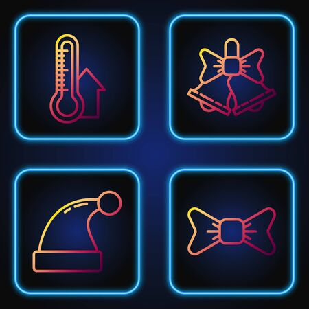 Set line Bow tie, Christmas Santa Claus hat, Meteorology thermometer measuring and Merry Christmas ringing bell. Gradient color icons. Vector  イラスト・ベクター素材