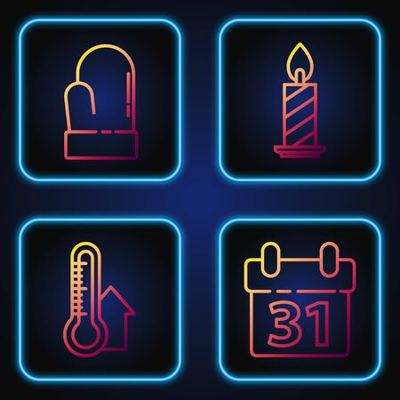 Set line Calendar, Meteorology thermometer measuring, Christmas mitten and Burning candle in candlestick. Gradient color icons. Vector Imagens - 139888128