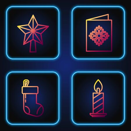 Set line Burning candle in candlestick, Christmas stocking, Christmas star and Christmas postcard. Gradient color icons. Vector