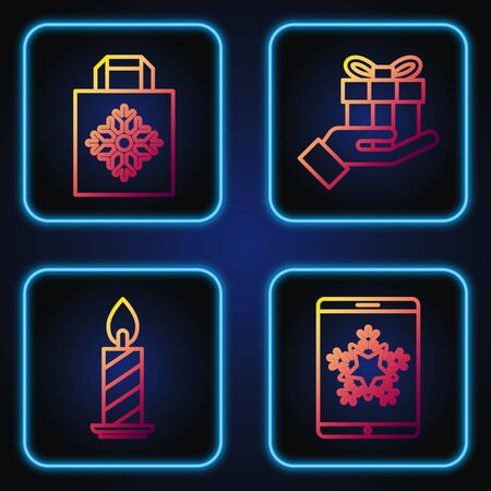 Set line Christmas on smartphone and snowflake, Burning candle in candlestick, Christmas paper shopping bag and Gift box in hand. Gradient color icons. Vector Ilustração