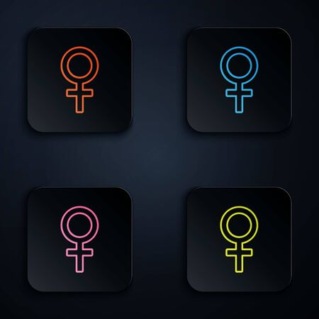 Color neon line Female gender symbol icon isolated on black background. Venus symbol. The symbol for a female organism or woman. Set icons in square buttons. Vector Illustration