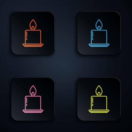 Color neon line Burning candle in candlestick icon isolated on black background. Cylindrical candle stick with burning flame. Set icons in square buttons. Vector Illustration Imagens - 139888164