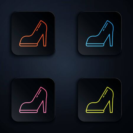 Color neon line Woman shoe with high heel icon isolated on black background. Set icons in square buttons. Vector Illustration 向量圖像