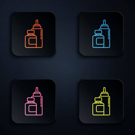 Color neon line Sauce bottle icon isolated on black background. Ketchup, mustard and mayonnaise bottles with sauce for fast food. Set icons in square buttons. Vector Illustration