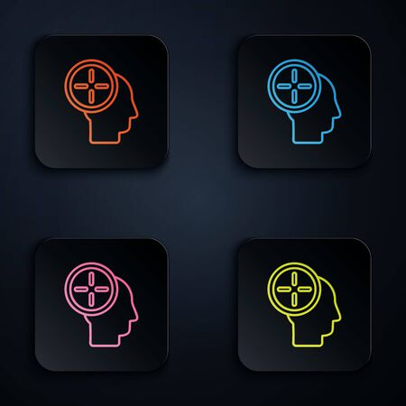 Color neon line Head hunting concept icon isolated on black background. Business target or Employment. Human resource and recruitment for business. Set icons in square buttons. Vector Illustration