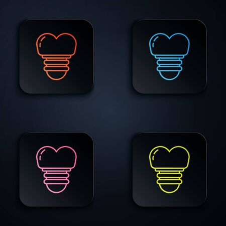 Color neon line Dental implant icon isolated on black background. Set icons in square buttons. Vector Illustration