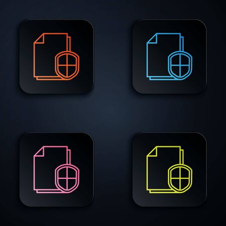 Color neon line Document protection concept icon isolated on black background. Confidential information and privacy idea, secure, guard, shield. Set icons in square buttons. Vector Illustration 일러스트