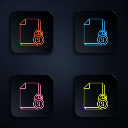 Color neon line Document and lock icon isolated on black background. File format and padlock. Security, safety, protection concept. Set icons in square buttons. Vector Illustration