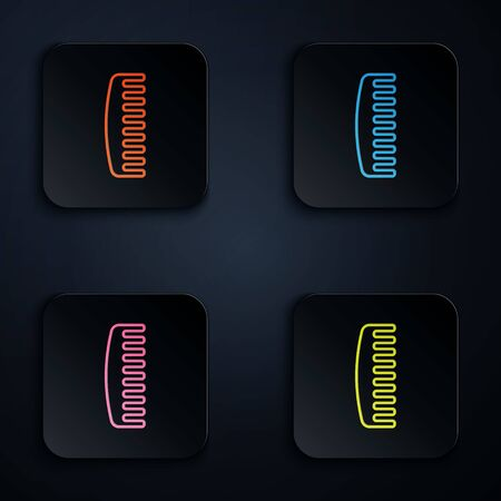 Color neon line Hairbrush icon isolated on black background. Comb hair sign. Barber symbol. Set icons in square buttons. Vector Illustration