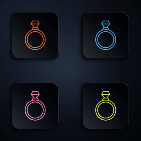 Color neon line Diamond engagement ring icon isolated on black background. Set icons in square buttons. Vector Illustration Illusztráció