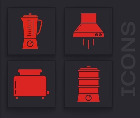 Set Double boiler , Blender , Kitchen extractor fan  and Toaster with toasts  icon. Vector