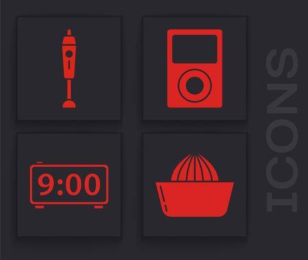 Set Citrus fruit juicer , Blender , Music player  and Digital alarm clock  icon. Vector