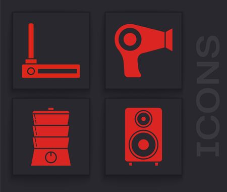Set Stereo speaker , Router and wi-fi signal , Hair dryer  and Double boiler  icon. Vector 일러스트
