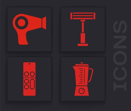 Set Blender , Hair dryer , Electric heater  and Remote control  icon. Vector