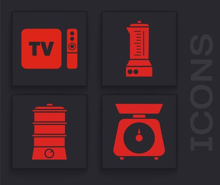 Set Scales , TV box receiver and player with remote controller , Blender  and Double boiler  icon. Vector