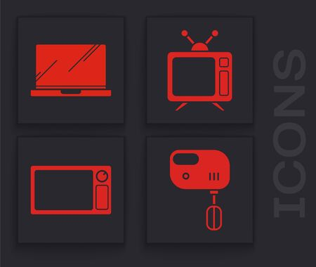 Set Electric mixer , Laptop , Television and Microwave oven  icon. Vector Illusztráció