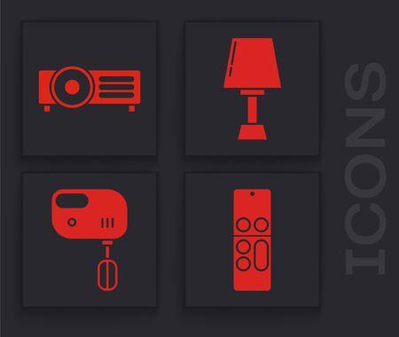 Set Remote control , Presentation, movie, film, media projector , Table lamp  and Electric mixer  icon. Vector