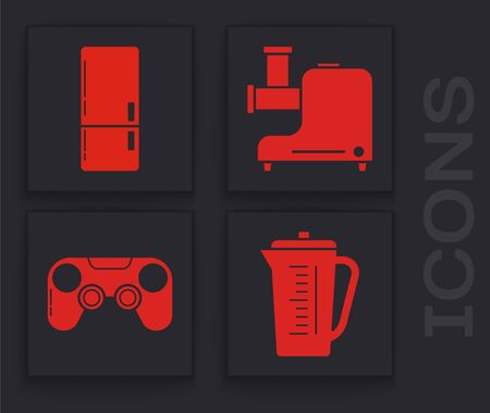Set Measuring cup, Refrigerator , Kitchen meat grinder  and Gamepad  icon. Vector Stock Illustratie