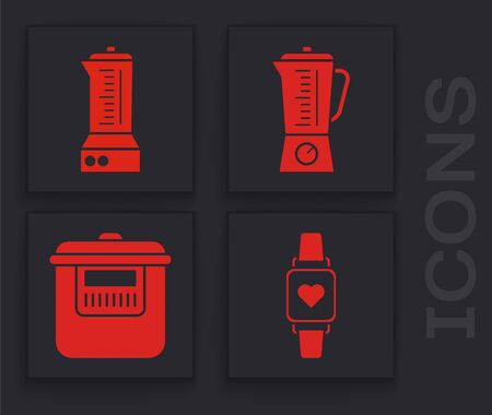 Set Smart watch showing heart beat rate , Blender , Blender  and Slow cooker  icon. Vector