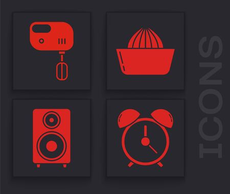 Set Alarm clock , Electric mixer , Citrus fruit juicer  and Stereo speaker  icon. Vector