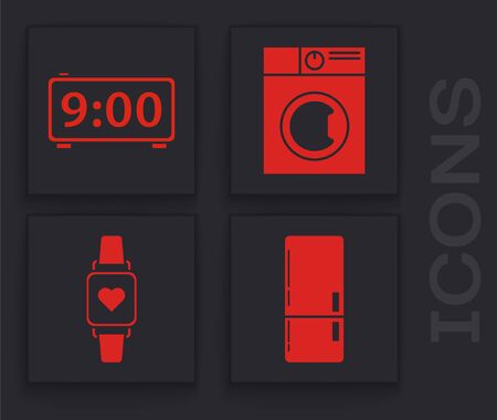 Set Refrigerator , Digital alarm clock , Washer  and Smart watch showing heart beat rate  icon. Vector Stock Illustratie