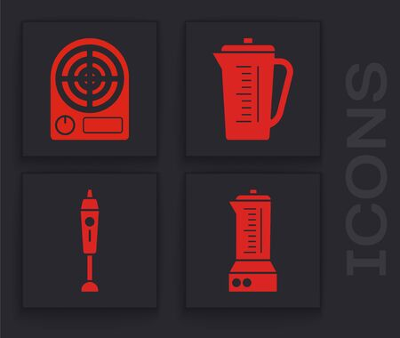Set Blender , Electric heater , Measuring cup and Blender  icon. Vector