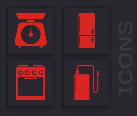 Set Power bank with different charge cable , Scales , Refrigerator  and Oven  icon. Vector Stock Illustratie