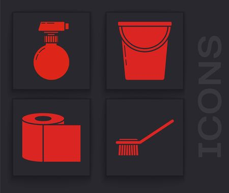 Set Toilet brush , Cleaning spray bottle with detergent liquid , Bucket  and Toilet paper roll  icon. Vector