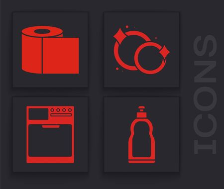 Set Plastic bottles for liquid dishwashing liquid, Toilet paper roll , Washing dishes  and Washer  icon. Vector Stock Illustratie