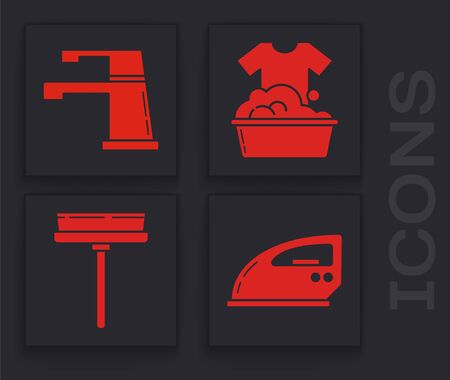 Set Electric iron , Water tap , Plastic basin with soap suds  and Squeegee, scraper, wiper icon. Vector