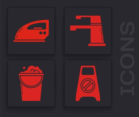 Set Wet floor and cleaning in progress , Electric iron , Water tap  and Bucket with foam and bubbles  icon. Vector Stock Illustratie
