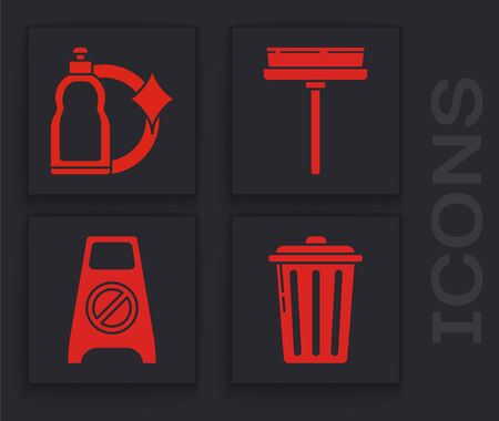 Set Trash can , Plastic bottles for liquid dishwashing liquid, Squeegee, scraper, wiper and Wet floor and cleaning in progress  icon. Vector Ilustracja