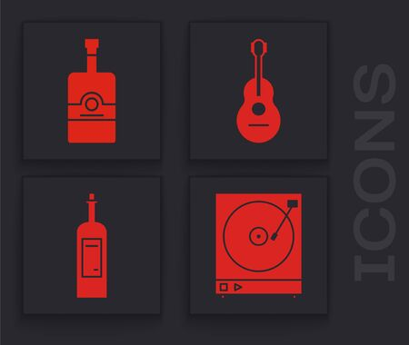 Set Vinyl player with a vinyl disk , Whiskey bottle , Guitar and Bottle of wine icon. Vector