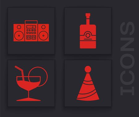 Set Party hat , Home stereo with two speakers , Whiskey bottle and Martini glass icon. Vector 向量圖像