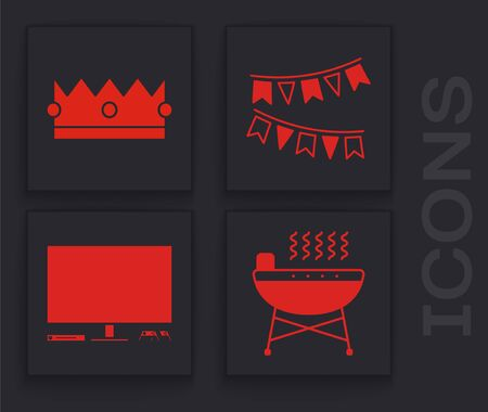 Set Barbecue grill , Crown , Carnival garland with flags and Video game console icon. Vector Banque d'images - 139978443