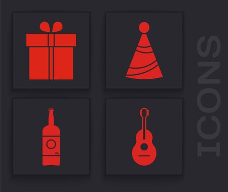 Set Guitar , Gift box , Party hat and Beer bottle icon. Vector