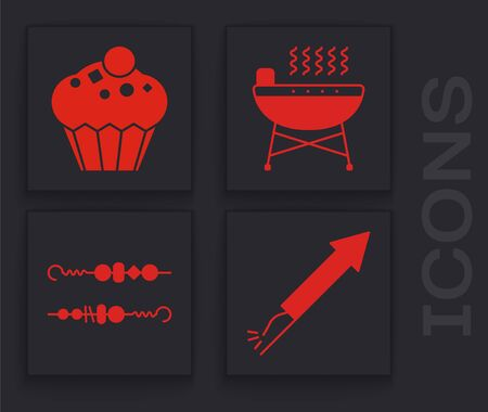 Set Firework rocket , Muffin , Barbecue grill and Grilled shish kebab icon. Vector