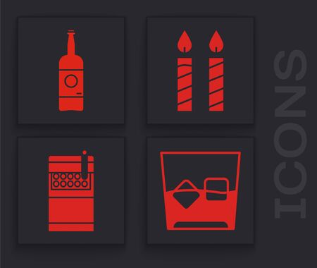 Set Glass of whiskey and ice cubes , Beer bottle , Birthday cake candles and Open cigarettes pack box icon. Vector 向量圖像