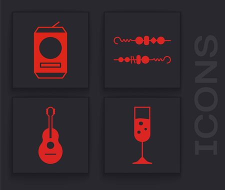 Set Glass of champagne , Beer can , Grilled shish kebab and Guitar icon. Vector