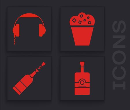Set Whiskey bottle , Headphones , Popcorn in cardboard box and Champagne bottle icon. Vector