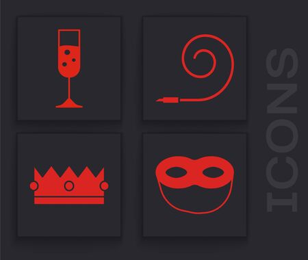 Set Festive mask , Glass of champagne , Birthday party horn and Crown icon. Vector