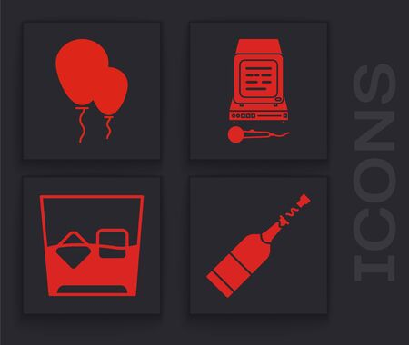 Set Champagne bottle , Balloons with ribbon , Karaoke and Glass of whiskey and ice cubes icon. Vector 向量圖像