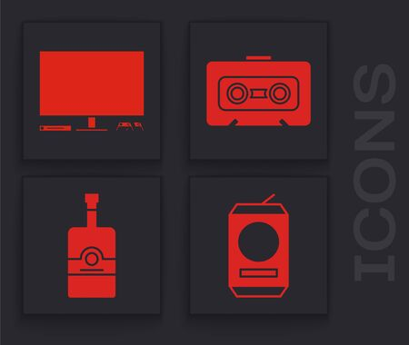Set Beer can , Video game console , Retro audio cassette tape and Whiskey bottle icon. Vector