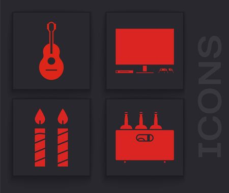 Set Bottles of wine in a wooden box , Guitar , Video game console and Birthday cake candles icon. Vector