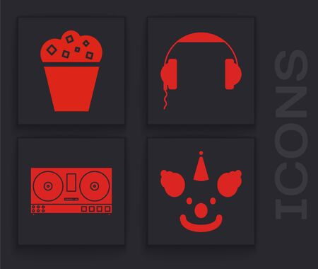 Set Clown head , Popcorn in cardboard box , Headphones and DJ remote for playing and mixing music icon. Vector