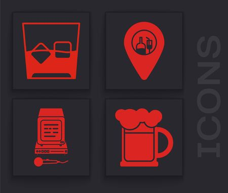Set Wooden beer mug , Glass of whiskey and ice cubes , Alcohol or beer bar location and Karaoke icon. Vector