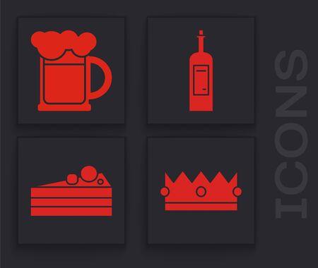 Set Crown , Wooden beer mug , Bottle of wine and Cake icon. Vector Banque d'images - 139977714